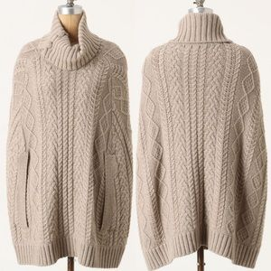 Anthropologie Fiets Voor 2 cabled cocoon poncho